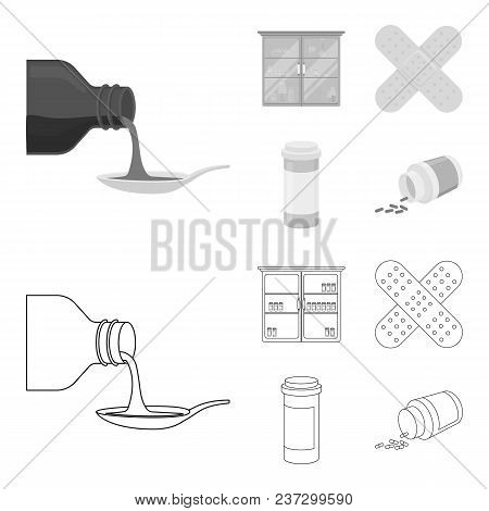 Syrup In A Spoon, Plaster, Honey, Medical Cabinet.medicine Set Collection Icons In Outline, Monochro