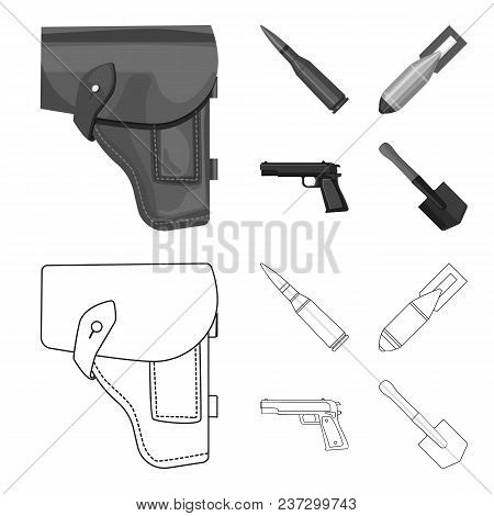 Holster, Cartridge, Air Bomb, Pistol. Military And Army Set Collection Icons In Outline, Monochrome