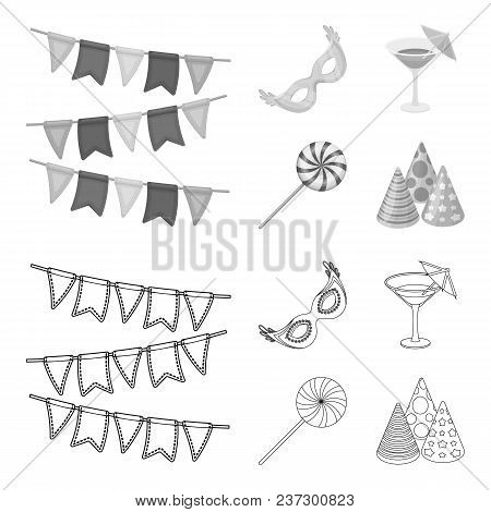 Garlands, Cocktail And Other Accessories At The Party.party And Partits Set Collection Icons In Outl