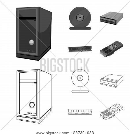 System Unit, Memory Card And Other Equipment. Personal Computer Set Collection Icons In Outline, Mon