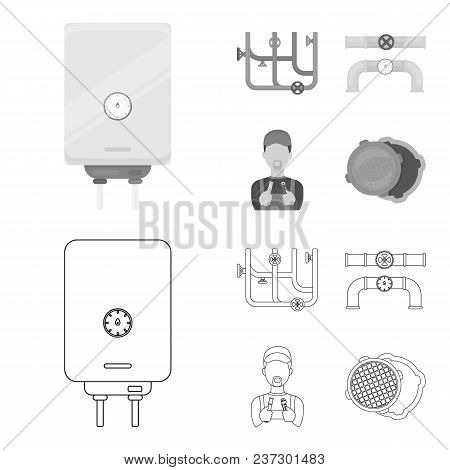 Boiler, Plumber, Ventils And Pipes.plumbing Set Collection Icons In Outline, Monochrome Style Vector