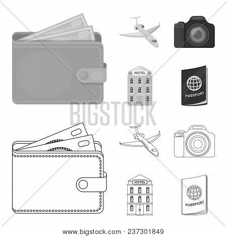 Vacation, Travel, Wallet, Money .rest And Travel Set Collection Icons In Outline, Monochrome Style V