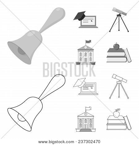 School Bell, Computer, Telescope And School Building. School Set Collection Icons In Outline, Monoch