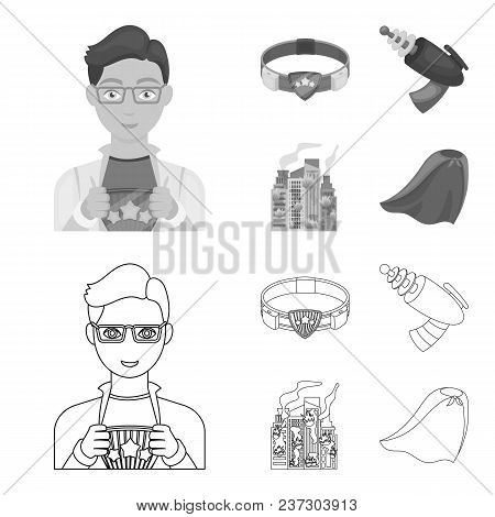 Man, Young, Glasses, And Other  Icon In Outline, Monochrome Style. Superman, Belt, Gun Icons In Set