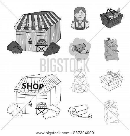 Salesman, Woman, Basket, Plastic .supermarket Set Collection Icons In Outline, Monochrome Style Vect