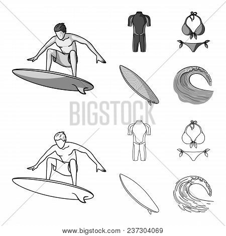 Surfer, Wetsuit, Bikini, Surfboard. Surfing Set Collection Icons In Outline, Monochrome Style Vector