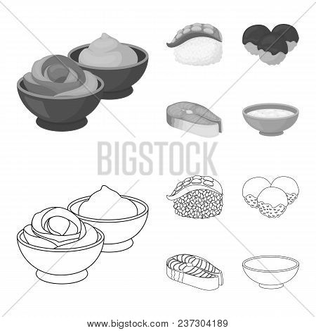 Wasabi Sauce And Ginger, Salmon Steak, Octopus. Sushi Set Collection Icons In Outline, Monochrome St