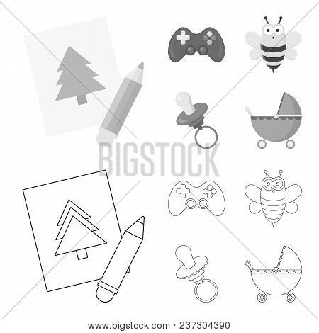 Picture, Dzhostik, Bee, Nipple.toys Set Collection Icons In Outline, Monochrome Style Vector Symbol