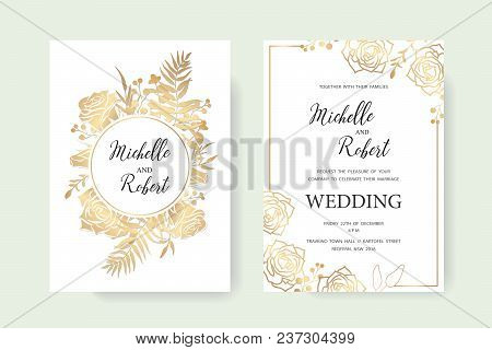 Wedding Invitation, Floral Invite Thank You. Label Card Vector Floral Design. Golden Foil Print Patt
