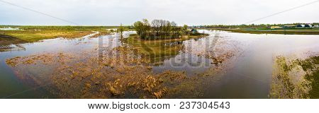 Spring Melting River Flood Aerial Panorama. Overflow Water At Springtime