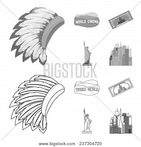Mohavk, World Cinema, Dollar, A Statue Of Liberty.usa Country Set Collection Icons In Outline, Monoc