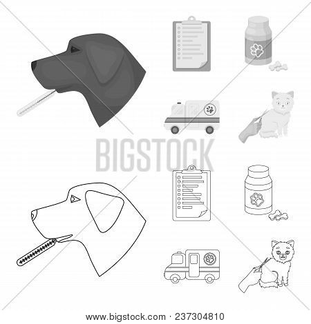 Hospital, Veterinarian, Dog, Thermometer .vet Clinic Set Collection Icons In Outline, Monochrome Sty