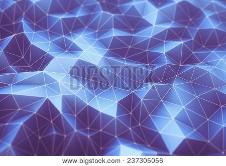 3d Illustration. Abstract Image, Connections In Lines And Geometric Shapes. Concept Of Technology Fo