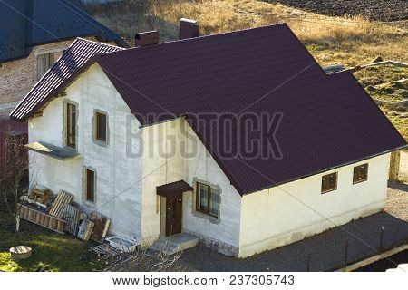 Brand New Spacious Brick Plastered Two Story Residential Family House With Brown Tiling Roof And Win