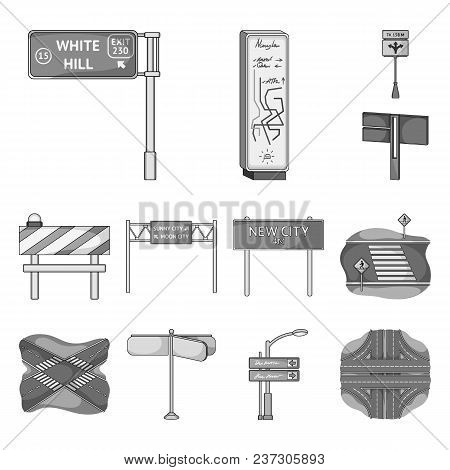 Road Junctions And Signs Monochrome Icons In Set Collection For Design.pedestrian Crossings And Sign
