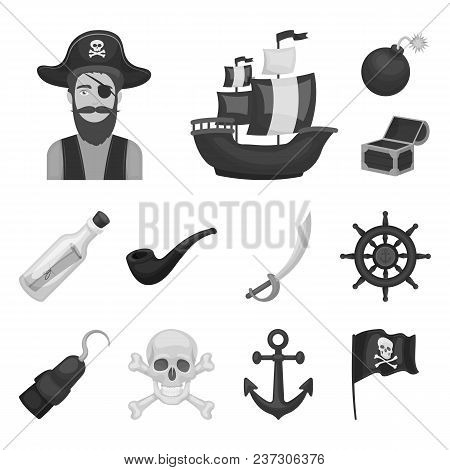 Pirate, Sea Robber Monochrome Icons In Set Collection For Design. Treasures, Attributes Vector Symbo