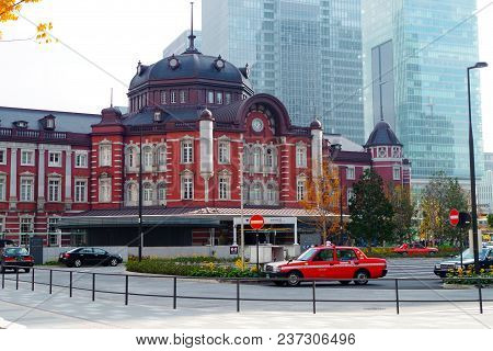 Tokyo, Japan. November 28, 2017. Tokyo Station Is A Railway Station In The Marunouchi Business Distr