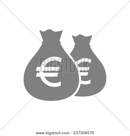 Bags Of Euro Money Pictogram Icon. Euros Money Bag Icon. Money Sack Icon.