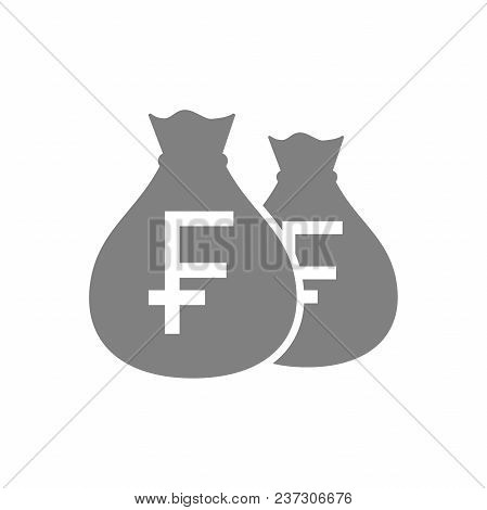 Bags Of Swiss Franc Money Pictogram Icon. Swiss Francs Money Bag Icon. Money Sack Icon.
