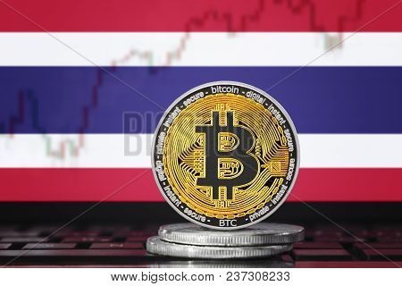 Bitcoin (btc) Cryptocurrency; Coin Bitcoin On The Background Of The Flag Of Thailand