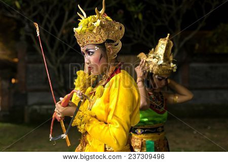 Ubud, Indonesia - August 8, 2016: Unidentified balinese artists preparing for traditional Kecak Fire Dance ceremony in Hindu temple on Bali, Indonesia
