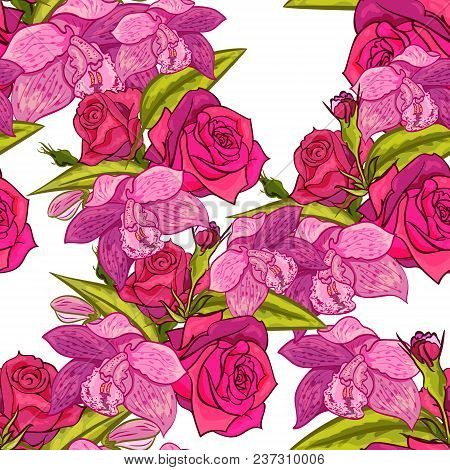 Vector Seamless Flower Pattern For Cards, Textiles, Backgrounds