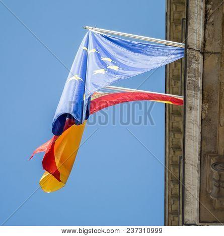 Flag Of Spain And Eu