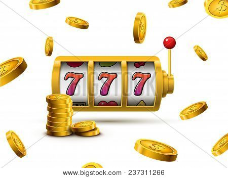 Slot Machine Lucky Sevens Jackpot Concept 777. Vector Casino Game. Slot Machine With Money Coins. Fo