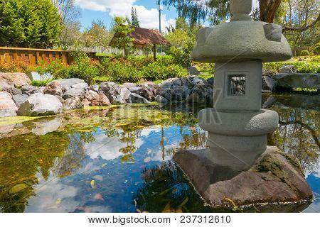 Pond In Japanese Garden Botanical Garden Quito Ecuador