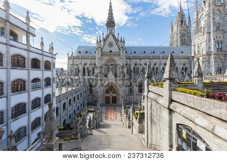 Quito Ecuador April 2018 The Basilica Church In Quito, Is Known For Its Neogothic Style And Beautifu