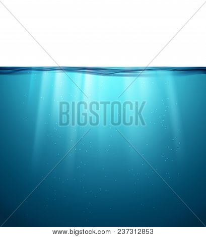 Underwater Ocean Surface. Blue Water Background. Clean Nature Sea Underwater Backdrop.