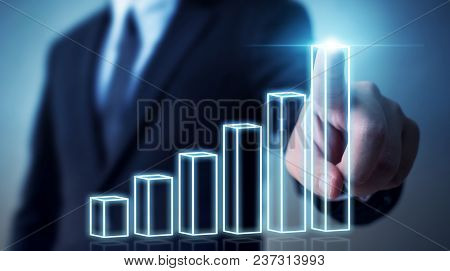 Business Development To Success And Growing Annual Revenue Growth Concept, Businessman Pointing Grap
