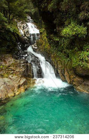 Falls creek waterfall near MIlford sound in South island in New Zealand
