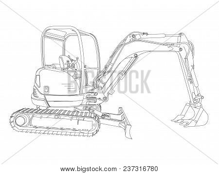Outline Of The Backhoe On White Background, Machinery Used In Construction For Scooping Or Digging O