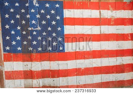 The American Wood Flag Concept 4th July National Day Memorial Celebration Independence Day.