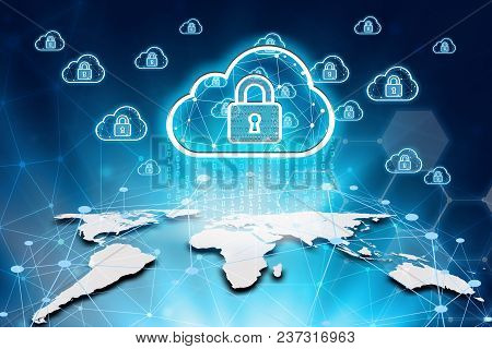 Virtual Screen Padlock And Cloud Computing Global Network Cyber Security Data Protection Business Te