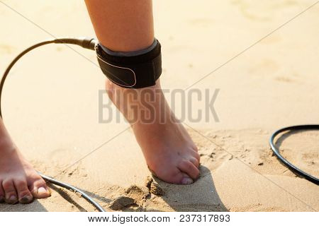 Surfing Leash On Female Leg Close Up, Surfing Concept