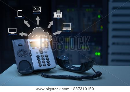 Ip Telephony Cloud Pbx Concept, Telephone Device With Illustration Icon Of Voip Services And Network