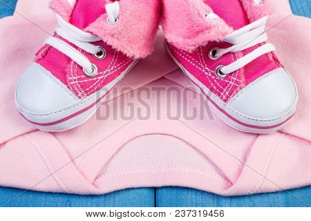 Clothing For Newborn, Baby Shoes, Bodysuits, Concept Of Extending Family And Expecting For Baby