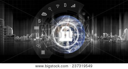 Global Network Security System Technology. Globe And Network Connection And Lock With Applications I