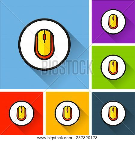 Illustration Of Mouse Icons With Long Shadow