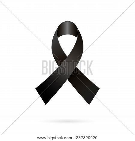 Mourning Ribbon. Black Awareness Tape On A White Background. Vector Illustration Of Black Ribbon Ico