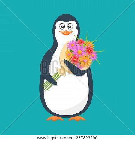 Funny Penguin, Antarctic Bird, With Large Bouquet Of Flowers And Smile. Holiday March 8, Congratulat
