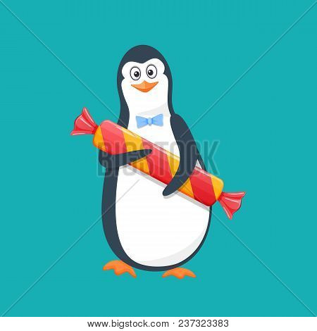 Funny Penguin, Antarctic Bird, With Large Gift Candy And Smile. Holiday March 8, Congratulation, Rom