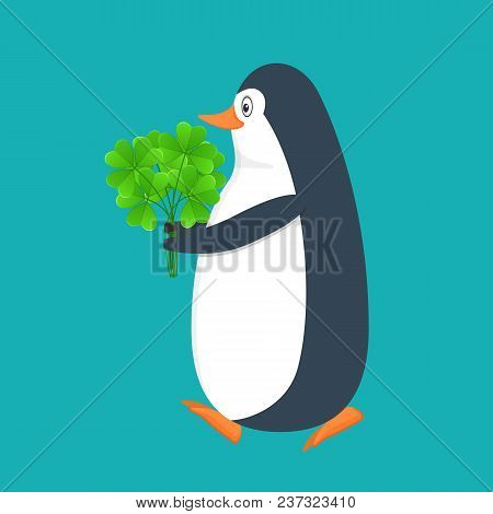 Funny Penguin, Antarctic Bird, With Green Plant In Hands, Clover Bouqet. Holiday Saint Patrick. Trad