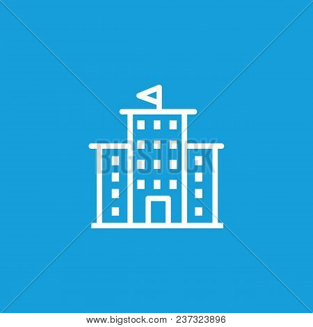 Icon Of Building With Flag On Top. University, Library, Government. Building Concept. Can Be Used Fo