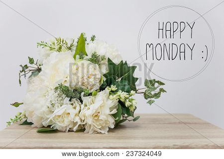 Happy Monday With Mock Up Of Flower On Table