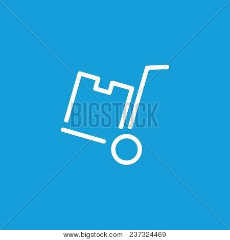 Line Icon Of Cardboard Box On Cart. Porter, Distribution Center, Warehouse. Delivery Concept. Can Be