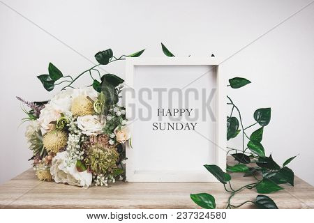 Happy Sunday Word With White Frame Mockup