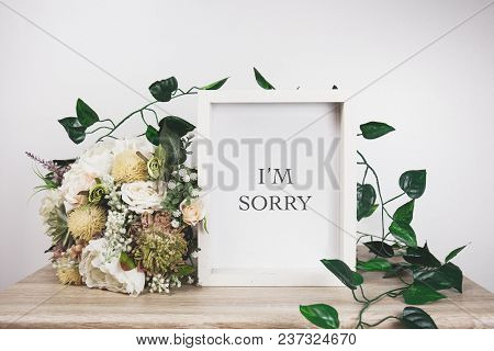 I'm Sorry Word With White Frame Mockup